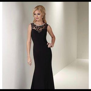 Serena London black Gown with Crystal Neckline